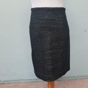 Yves Saint Laurent Merino Wool Pencil Skirt Black